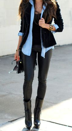 another great way to wear the leather pant trend.  <3