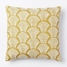 Crewel Deco Shells Pillow Cover - Horseradish #westelm