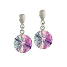 Rivoli Pink Vitrail Swarovski Crystal Silver Drop Pierced Earrings