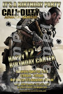 75 best call of duty advanced warfare birthday invitations and party call of duty advanced warfare 4x6 invitations with envelopes filmwisefo