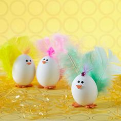 It's oh-so-easy to turn plain Easter eggs into adorable chicks: http://www.bhg.com/holidays/easter/eggs/pretty-no-dye-easter-eggs/?socsrc=bhgpin040514eastereggchicks&page=7