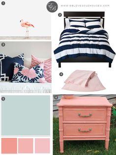 Elizabeth Burns Design | Beach Room Design - Navy and Pink Bedroom with Flamingo Decor
