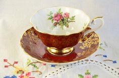Royal Albert rose tea cup and saucer burgundy Royal Albert