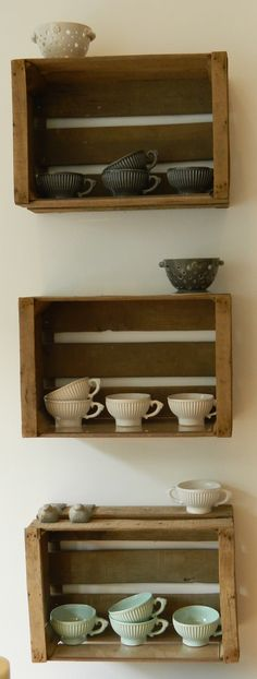 shop display crates-this would be cute for the washer/dryer area... my old drawers will work!!