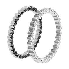 #MelissaKayeJewelry Charlotte #ring in #18k white #gold with #diamonds #jewelry #finejewelry #whitegold #blackdiamonds #fashion #style