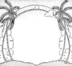 Palm And Clouds Cartouche Coloring Page From Coconut Palms Category Select 29951 Printable Crafts Of Cartoons Nature Animals Bible Many More