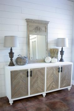 This buffet has a traditional look and feel but shares a modern vibe that is sure to catch the eye of anyone who walks into the room!! This buffet doesn't just sit around looking pretty, the storage space it provides is amazing!! Build it over the weekend and have your home ready for the holidays!!