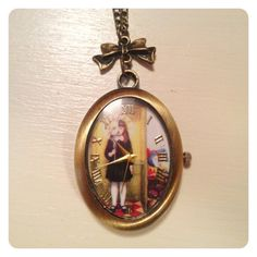 Back in stock:  Fob watch style clock on necklace by catsandwhiskers on Etsy, $18.00