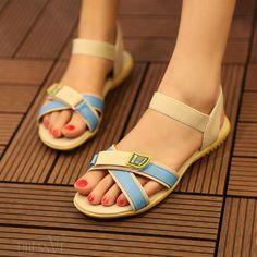 $23.99. Color Block Flat Ope Toe Sandals