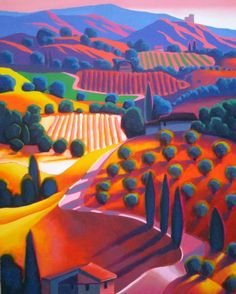 Dan Berkeland Vineyards in the Sunset Landscape Art, Landscape Paintings, Landscapes, Illustration Art, Illustrations, Guache, Naive Art, Art Pictures, Art Inspo