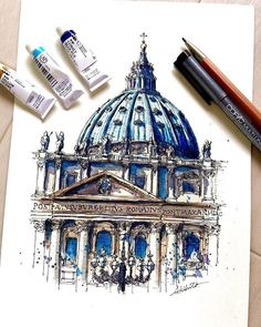 Drawing and Painting St.Peter's Basilica, Vatican City. Travelling, Drawing and Painting. By Akihito Horigome.Peter's Basilica, Vatican City. Travelling, Drawing and Painting. By Akihito Horigome. Watercolor Architecture, Architecture Sketchbook, Art Sketchbook, Art And Architecture, Architecture Concept Drawings, Travel Sketchbook, Watercolor Sketch, Watercolor Paintings, Fond Design