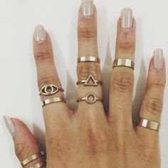 Stacked boho rings for days. Love.