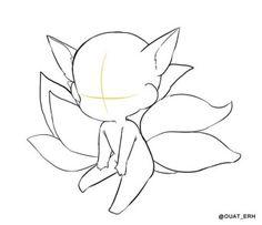 Chibi Nine-Tail! Anime Drawings Sketches, Kawaii Drawings, Cute Drawings, Drawing Base, Manga Drawing, Chibi Drawing, Chibi Sketch, Anime Poses Reference, Drawing Reference