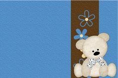 Fazendo a Minha Festa!: Ursinho Fofinho Azul e Marrom - Kit Completo com molduras para convites, rótulos para guloseimas, lembrancinhas e imagens!