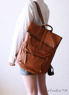 Square Shape Leather Backpack - Tan Brown. $150.00, via Etsy.