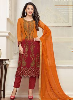 http://www.sareesaga.in/index.php?route=product/product&product_id=15803 Work:Embroidered Resham Work Style:Salwar suit Shipping Time:10 to 12 Days Occasion:Party Festival Casual Fabric:Georgette Colour:Red Orange For Inquiry Or Any Query Related To Product,  Contact :- +91 9825192886
