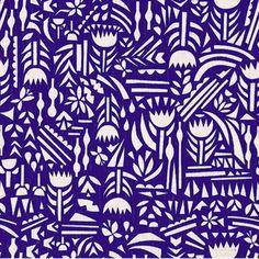 Tissu Botanica - bleu electrique x Textile Patterns, Textile Prints, Color Patterns, Print Patterns, Pattern Print, Japanese Fabric, Japanese Textiles, Motif Floral, Pattern Illustration