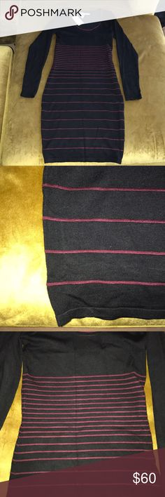 Max Studio  Black Long Sleeve Striped Knit Dress Brand new with tags.   Max Studio Degrade-stripe knit sweater dress Scoop neckline  Long sleeves For fitting silhouette  Pullover style Max Studio Dresses Long Sleeve