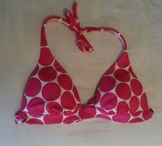 Victorias Secret Pink Polka Dot Bikini Top White Medium Triangle Swimsuit #VictoriasSecret #BikiniTop