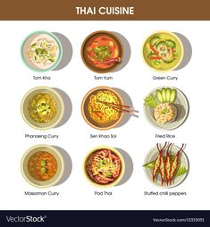 Thai cuisine poster with traditional dishes on Vector Image Thai Recipes, Asian Recipes, Real Food Recipes, Cooking Recipes, Spicy Vegetable Soup, Traditional Thai Food, Around The World Food, Thai Dishes, Food Drawing