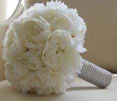 ::like the wrapping around the stems:: White Peonies Bridal Bouquet with Silver Stem Wrap by MoxiBouquet