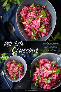 Beetroot couscous salad with goat cream cheese and pine nuts - Eat the Rainbow - Farbe auf dem Teller - Salat Quick Recipes, Popular Recipes, Healthy Recipes, Couscous Recipes, Salad Recipes, Easy Salads, Easy Meals, Beetroot, Cranberries