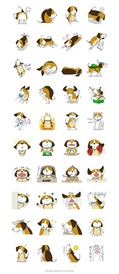 Cute dog / Beagle Boy - Line Sticker on Behance