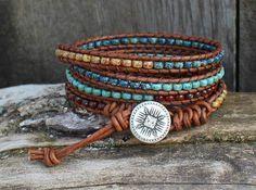 Leather Wrap Bracelet, Beaded Leather Wrap Bracelet, Mens Bracelet, Womens Leather Bracelet, Seed Bead Beaded Bracelet, Wrap Bracelet, M12 by hodgepodgecandles on Etsy