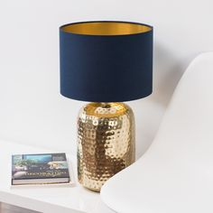 Gold Lamp with blue shade and gold inside need to order colour swatch. - Black Lamp Base - Ideas of Black Lamp Base Blue And Gold Bedroom, Gold Bedroom Decor, Gold Rooms, Blue Gold, Bedroom Ideas, Blue Table Lamp, Table Lamp Base, Lamp Bases, Gold Table
