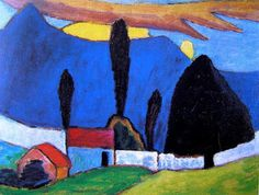 Painting by the expressionist painter Gabriele Münter Abstract Landscape, Landscape Paintings, Abstract Art, Wassily Kandinsky, Cavalier Bleu, Blue Rider, Art Images, Painting & Drawing, Amazing Art