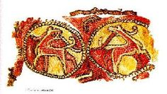 The Textiles of the Oseberg Ship - Applique. Animal figures in rondels embroidered in chain stitch in yellow and red on a silk strip.  The strip was then appliqued onto the ground fabric.  The embroidery is believed to have been imported from the British Isles.