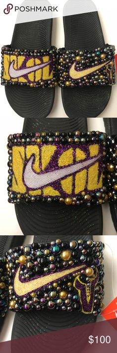 e34cd022e21da MN Vikings Customized Nike Slides Customized by SprinkleMyFeet these are a  10 in Men s and Fit