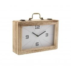 """GwG Outlet Wooden Clock Box 12""""W, 8""""H 85252"""