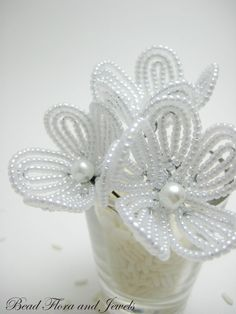 flower girl hair beaded flower hair pins white by BeadFloraJewels