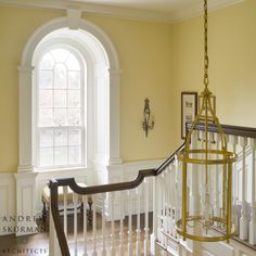 A Colonial Country House - traditional - staircase - san francisco - Andrew Skurman Architects Yellow Hallway, Yellow Walls, Georgian Interiors, Georgian Homes, Georgian Townhouse, Georgian Architecture, Architecture Details, Beautiful Architecture, Style At Home
