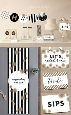 Black and gold graduation theme party from minted.