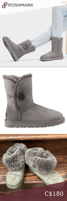 UGG BAILEY BUTTON II BOOT Embellished with a wood-button closure, this plush sheepskin boot is more versatile than ever – fasten for extra warmth, or fold down for a full, fluffy collar. Finished with our signature sole for added cushioning, traction, and durability, it pairs with silky dresses or overalls and a tee. Water repellency treatment sheepskin upper Wood button and elastic closure sheepskin lining and insole Treadlite by UGG™ outsole for comfort Leather heel label with embossed… Ugg Classic Cardy, Ugg Classic Short, Black Suede Boots, Leather Heels, Ugg Bailey Button, Knit Boots, Sheepskin Boots, Shearling Boots