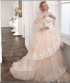 blush ball gown wedding dress