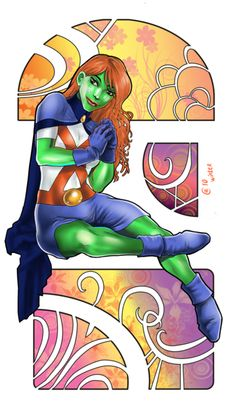 Miss Martian (M'gann M'orzz, Megan Morse) from Young Justice. SAI for the lines and colouring, Corel Draw for frames in background and some Photoshop fo. Miss Martian Captain Marvel Shazam, Marvel Vs, Marvel Dc Comics, Superboy And Miss Martian, The Martian, Young Justice, Hq Dc, Martian Manhunter, Beast Boy