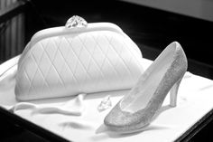 Another Chanel bag cake, a clutch this time with a glittery shoe for the TinyLives charity.