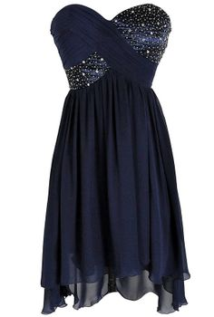 Shooting Stars Navy Embellished Chiffon Designer Dress