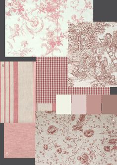 Pretty pink French fabrics #brocante #toile #gingham #French