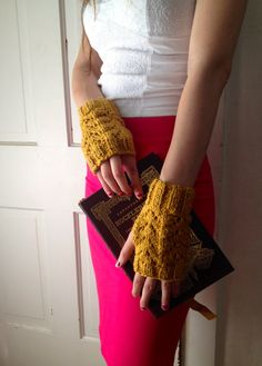 Organic Cotton Honey Fingerless Gloves