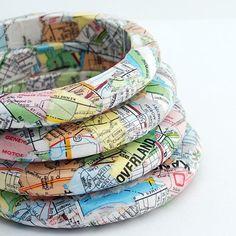 Eco Friendly Travelers Map Bangle Bracelet Kansas by SquishySushi. I Spy Overland Park. :)