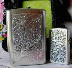 Vintage Cigarette Case & Lighter Set Floral by normajeanscloset, $29.99