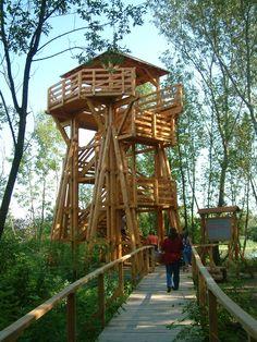 Hortobágyi Nemzeti Park - Tisza-tavi Vízi Sétány Hothouse, Treehouses, Hungary, Cabins, Deck, History, House Styles, Beautiful, Greenhouses