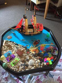 Pirate Activities, Eyfs Activities, Nursery Activities, Preschool Activities, Toddler Sensory Bins, Sensory Play, Tuff Tray Ideas Toddlers, Christening Cake Girls, Tuff Spot