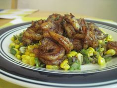 Chile-honey rubbed shrimp with corn salsa #food #cooking #recipe