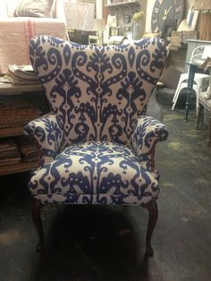 Patterned Wing Back Chair Sofa Chair, Wingback Chairs, Armchairs, Hanging Cabinet, Couch Design, Bedroom Decor, Bedroom Ideas, Master Bedroom, Take A Seat
