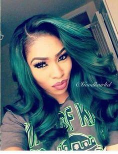 Green hair color, marginal hair color in place of the rock and roll life philosophy by people who have started to be preferred quite often. It is a unique color for those who adopt Punk style. Sew In Hairstyles, Pretty Hairstyles, Natural Hair Styles, Short Hair Styles, Green Wig, Jade Green, Mint Green, Olive Green, Bold Hair Color